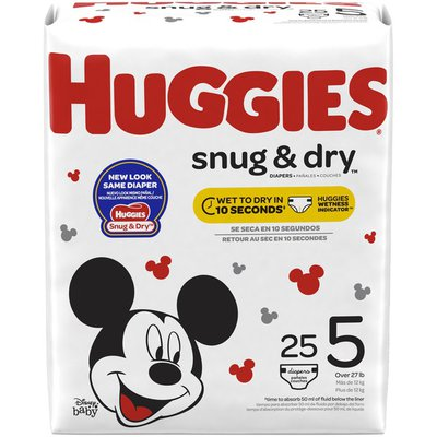 Huggies Snug & Dry Diapers, Size 5, 25 Count (Packaging May Vary)
