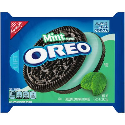 Oreo Chocolate Sandwich Cookies, Mint Flavored Creme, 1 Resealable Pack