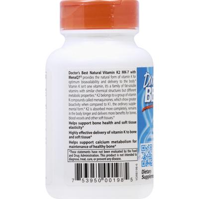 Doctor's Best Vitamin K2 MK-7, with MenaQ7, Natural, 45 mcg, Veggie Caps