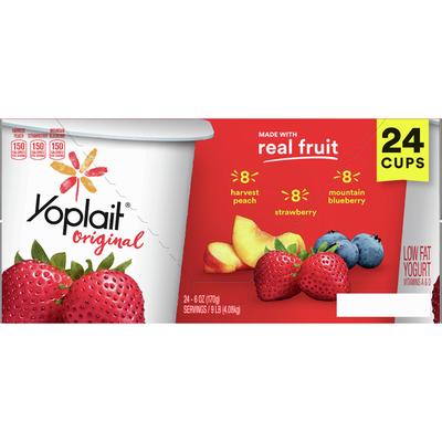 Yoplait Yogurt, Low Fat, Harvest Peach, Strawberry, Mountain Blueberry