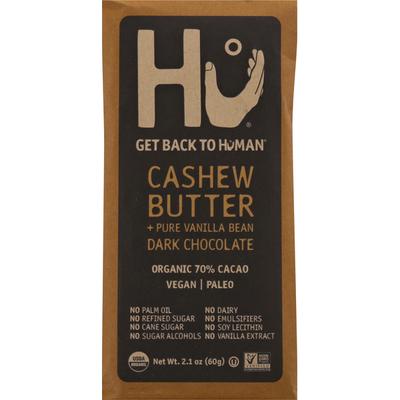 Hu Dark Chocolate, Cashew Butter + Pure Vanilla Bean, 70% Cacao