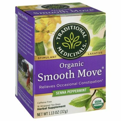 Traditional Medicinals Organic Smooth Move Peppermint, Caffeine Free Laxative Tea