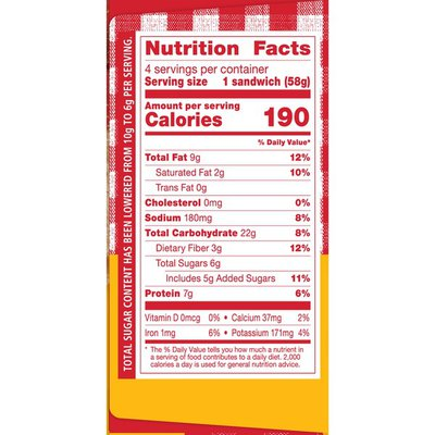Smucker's Uncrustables Reduced Sugar, Peanut Butter & Strawberry Spread Sandwich on Whole Wheat Bread