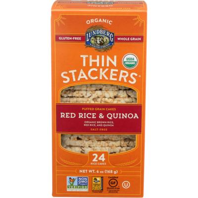 Lundberg Family Farms Thin Stackers Salt-Free Organic Red Rice & Quinoa Puffed
