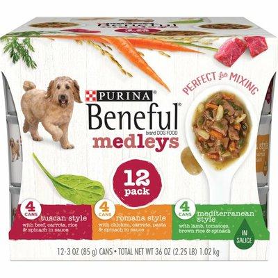 Purina Beneful Wet Dog Food Variety Pack, Medleys Tuscan, Romana & Mediterranean Style