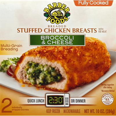 Barber Foods Chicken Breasts, Breaded Stuffed, Broccoli & Cheese