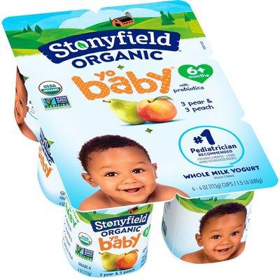 Stonyfield Organic YoBaby Peach & Pear Whole Milk Organic Yogurt