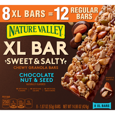 Nature Valley XL Bar, Sweet & Salty Chewy Granola Bars, Chocolate Nut & Seed