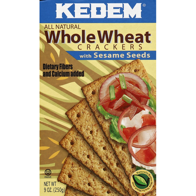Kedem Crackers, Whole Wheat, with Sesame Seeds