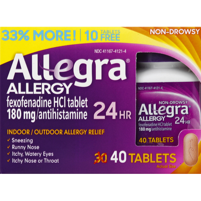 Allegra Allergy, 24 Hour, 180 mg, Non-Drowsy, Tablets