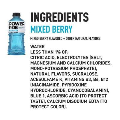 Powerade Sugar Mixed Berry, Ion4 Electrolyte Enhanced Fruit Flavored Sugar Calorie Sports Drink W/ Vitamins B3, B6, And B12, Replenish Sodium, Calcium, Potassium, Magnesium