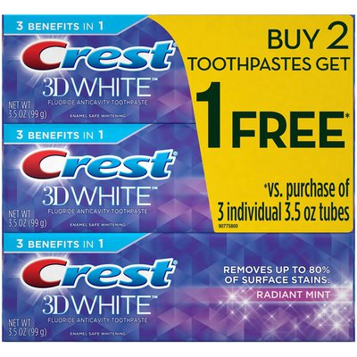 Crest 3D White Crest 3D White Radiant Mint Whitening Toothpaste, 3.5 oz, Buy 2 Get 1 Dentifrice
