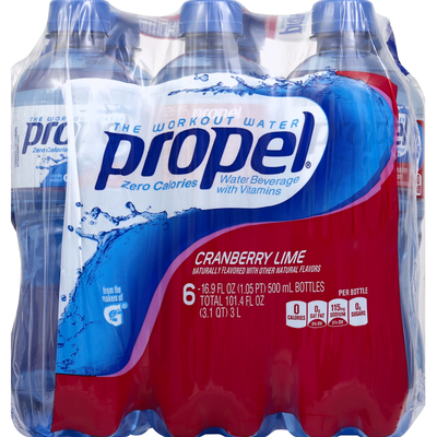 Propel Water Beverage, with Vitamins, Cranberry Lime