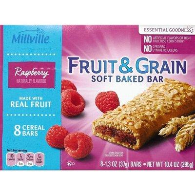 Millville Raspberry Flavored Fruit & Grain Soft Baked Cereal Bar