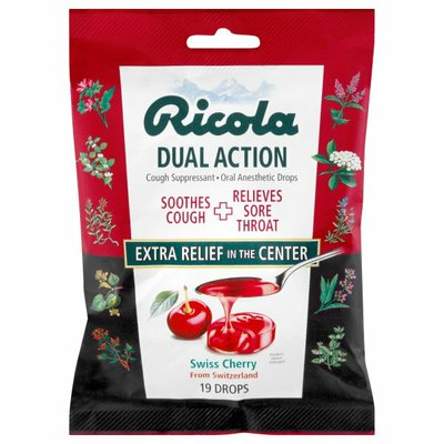 Ricola Cough Suppressant Drops, Dual Action, Swiss Cherry