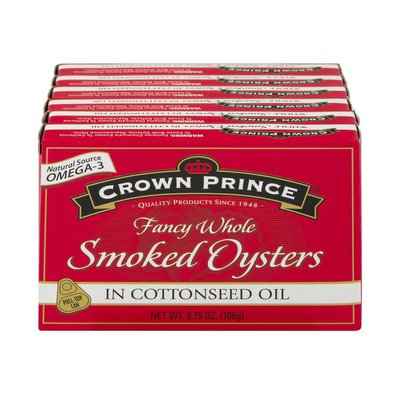 Crown Prince Fancy Whole Smoked Oysters In Cottonseed Oil - 6 CT