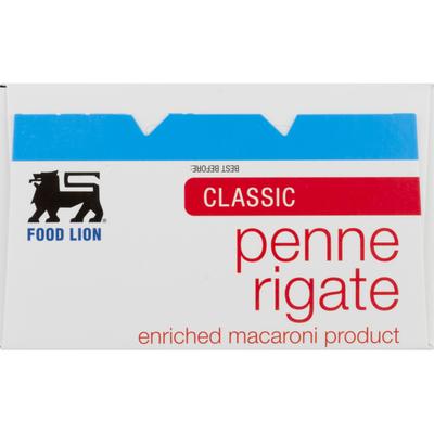 Food Lion Pasta, Penne Rigate, Classic, Box