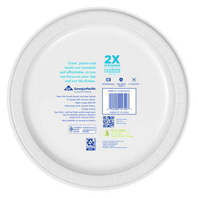 Dixie Paper Plates, 10 Inch Dinner Plate (Design May Vary)