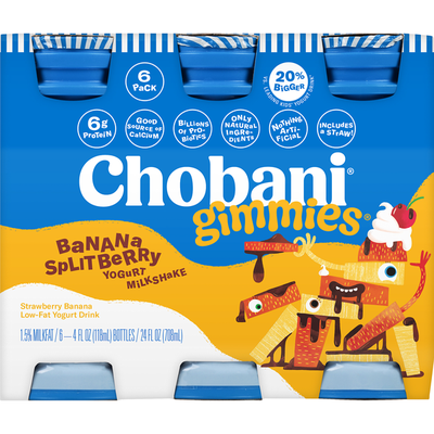 Chobani Yogurt Drink, Low-Fat, Strawberry Banana, 6 Pack