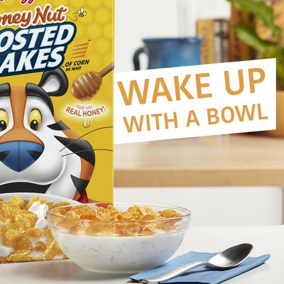 Kellogg's Frosted Flakes Breakfast Cereal, 8 Vitamins and Minerals, Kids Snacks, Honey Nut