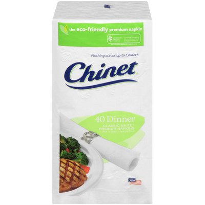Chinet Classic White 3 Ply Dinner Napkins