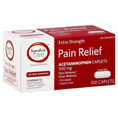 Signature Home 500 Mg Extra Strength Acetaminophen Pain Reliever & Fever Reducer