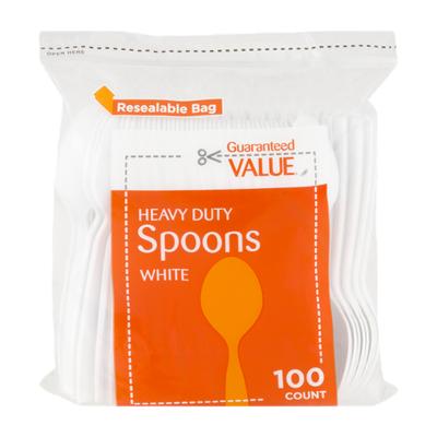 Guaranteed Value Heavy Duty Plastic Spoons White - 100 CT