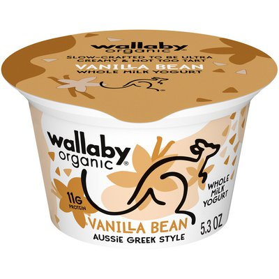Wallaby Organic Greek Whole Milk Blended Vanilla Bean Yogurt