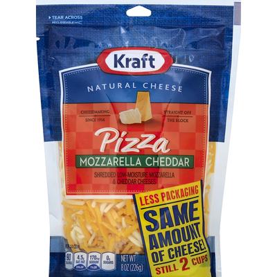 Kraft Shredded Cheeses, Pizza, Low-Moisture Mozzarella & Cheddar