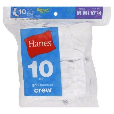 Hanes Socks, Cushion Crew, Girls, Medium