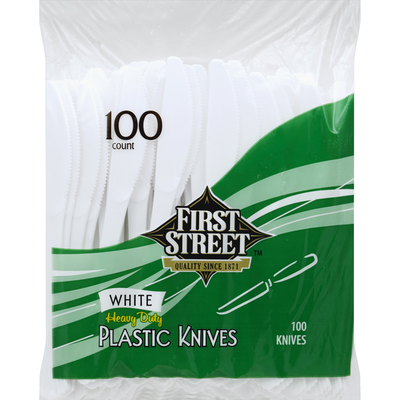 First Street Knives, Plastic, White, Heavy Duty
