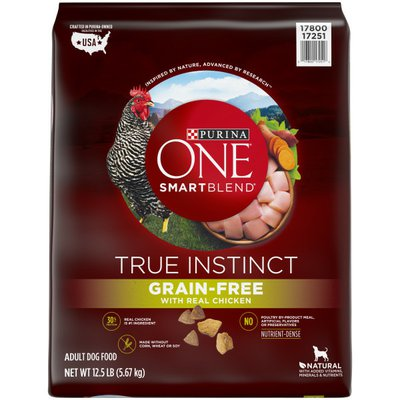 Purina ONE Grain Free, Natural, High Protein Dry Dog Food, SmartBlend True Instinct Real Chicken
