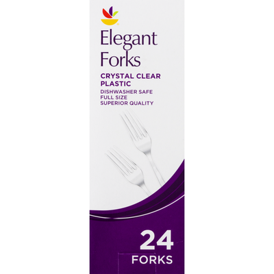 SB Elegant Forks Crystal Clear Plastic - 24 CT