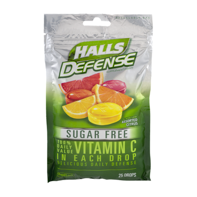 Halls Defense Sugar Free Assorted Citrus Vitamin C Drops