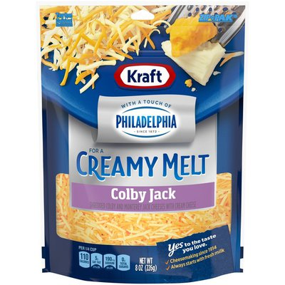 Kraft Colby Jack Shredded Cheese with a Touch of Philadelphia for a Creamy Melt