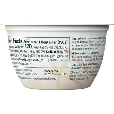 Chobani Yogurt, Less Sugar, Low-Fat, Greek, Madagascar Vanilla & Cinnamon