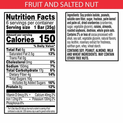 Kellogg's Special K Protein Snack Bars, 8g of Protein Per Bar, Fruit and Salted Nut