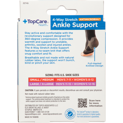 TopCare Ankle Support, 4-Way Stretch, Small/Medium