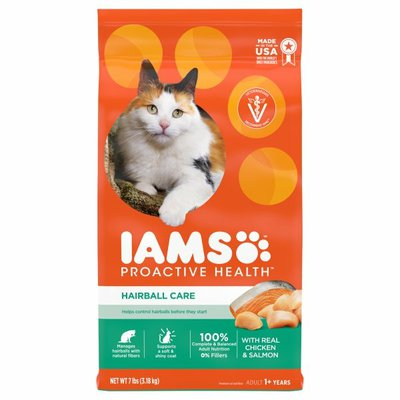 IAMS Cat Food, with Chicken & Salmon, Hairball Care, Adult