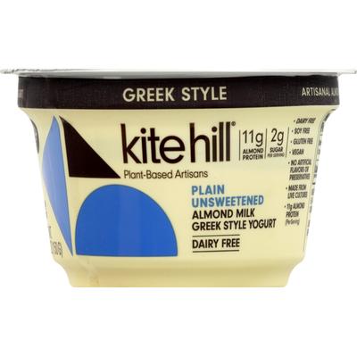 Kite Hill Yogurt, Greek Style, Dairy Free, Almond Milk, Plain Unsweetened