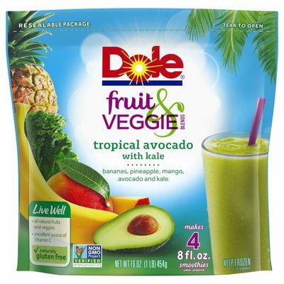 Dole Fruit & Veggie Blends Tropical Avocado with Kale Smoothie Mix