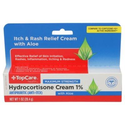 TopCare Maximum Strength Hydrocortisone 1% Antipruritic Itch & Rash Relief With Aloe Cream