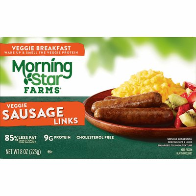 Morning Star Farms Meatless Sausage Links, Plant Based Protein, Frozen Breakfast, Original