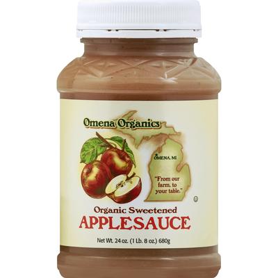 Omena Organics Applesauce, Sweetened, Organic