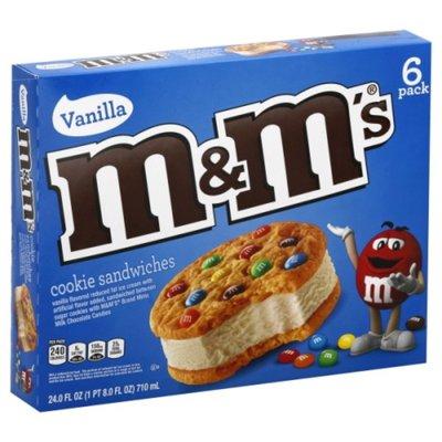 M&M's Cookie Sandwiches With Vanilla Ice Cream