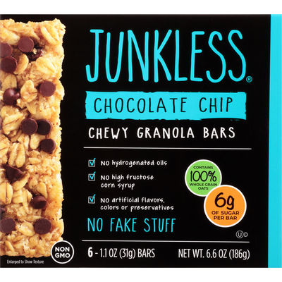 JUNKLESS Chocolate Chip Chewy Granola Bars