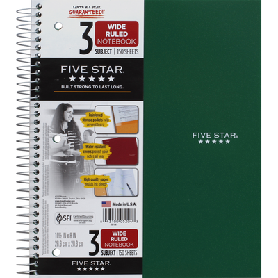 Five Star Notebook, 3 Subject, Wide Ruled, 150 Sheets