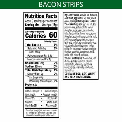 Morning Star Farms Meatless Bacon Strips, Plant Based Protein, Frozen Breakfast, Original