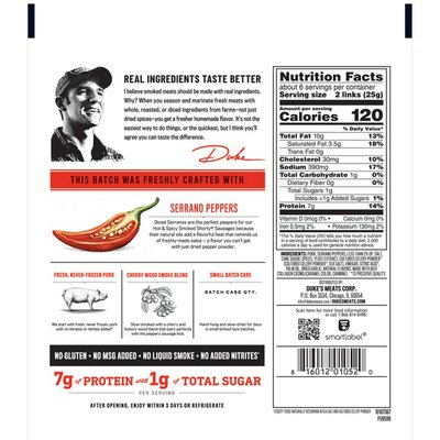 Duke's Hot And Spicy Smoked Shorty Sausages