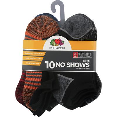 Fruit of the Loom Socks, No Shows, Boys, Medium